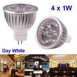 4 x 1W High Quality LED Energy Saving Spotlight Bulb, Base type: MR16 (Hvidt lys)