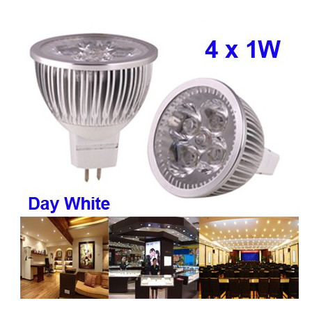 Image of   4 x 1W High Quality LED Energy Saving Spotlight Bulb, Base type: MR16 (hvidt lys)