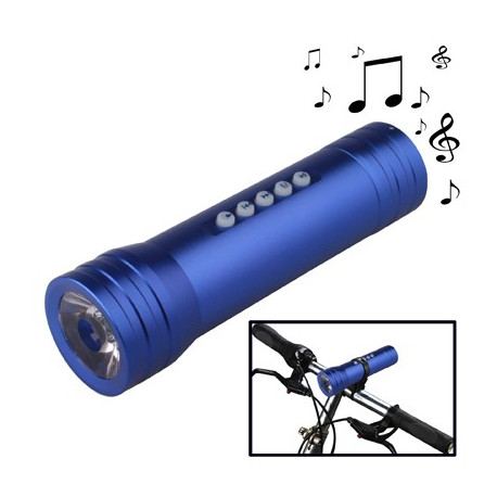 Image of   3 i 1 Multifunktionel lommelygte med musik (MP3-afspiller + højtaler + lommelygte), (Blå)