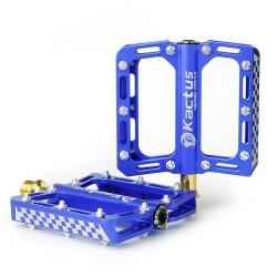 Kactus Bike MTB BMX Platform Flat Pedaler CNC Guldplettering Rustfrit Stål Aksel (blå)