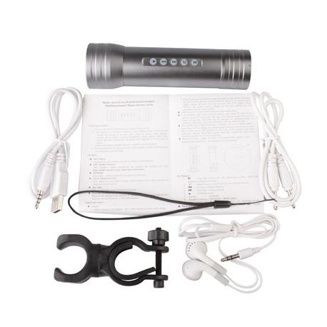 Image of   3 i 1 multifunktionel Magic Music lommelygte (MP3-afspiller + Højttaler + lommelygte), Grå