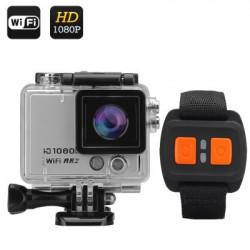 """1080p 60fps kamera med fjernbetjening """"Flash X"""" - 12MP, WI-FI, 2 tommers skærm, 160 graders linse, IP68"""