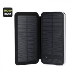 RIPA monokrystallinsk solardrevet oplader - 10000mAh, 2 USB-udgange, 5V 3W solarpanel, og touch knapper
