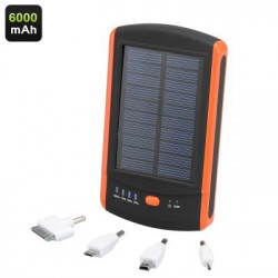 6000mAh Solar Power Bank med Dual USB Port, LED oplader og 4 adaptere