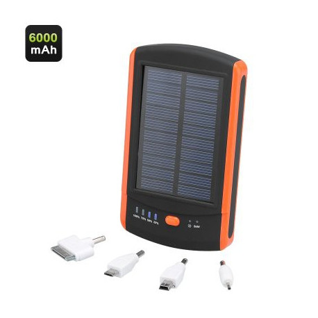 Image of   6000mAh Solar Power Bank med Dual USB Port, LED oplader og 4 adaptere
