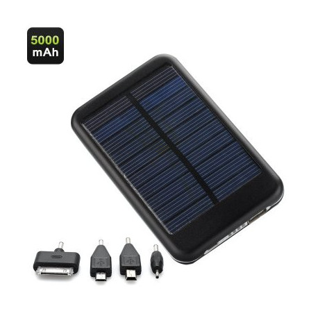 Image of   5000mAh Solardrevet oplader - 0,7 W Solarpanel, 4 Stik, Strømbesparelses funktion, transportabel