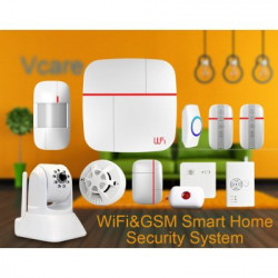 Vcare Dual Network Intelligent Home Security System - iOS og Android-apps, Max 100 Brugere, IP-kamera, Dør / vindue sensor, PIR