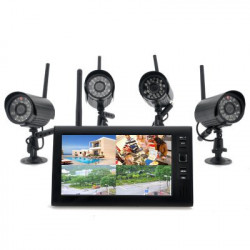 """Trådløs Home Security Kamera System """"Securial"""" - 4x Indendørs trådløse kameraer, 7 tommer trådløs Monitor, Indbygget DVR"""
