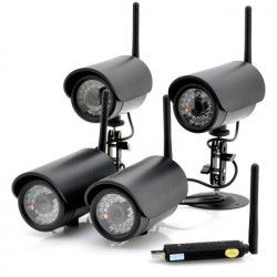 4 trådløse kameraer + USB DVR - viser 4 kanaler samtidigt, tilsluttes via USB