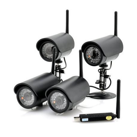 Image of   4 trådløse kameraer + USB DVR - viser 4 kanaler samtidigt, tilsluttes via USB