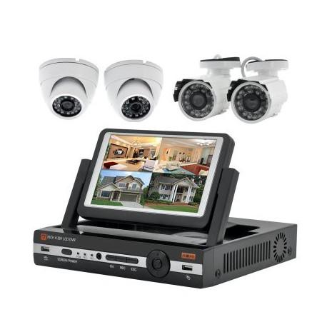 """Image of   4 kanalers DVR Overvågnings-sæt """"Watch-Tower II"""" med 7 tommers LCD-skærm, 2x Indendørs og 2x Udendørs Kameraer, H.264"""