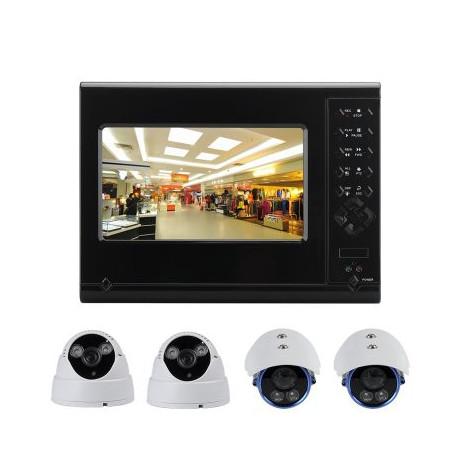 Image of   4 Kamera 4 kanals DVR Sæt med 7 tommers LCD display, 2 Indendørs kameraer og 2 Udendørs kameraer, Bidirektional samtaleanlæg