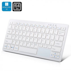 72 Key Tastatur PC - Windows 10, Intel Quad Core CPU, 2GB RAM, Bluetooth, 32GB hukommelse (hvid)
