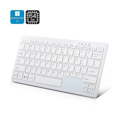 72 Key Tastatur PC - Windows 10, Intel Quad Core CPU, 2GB RAM, Bluetooth, 32GB hukommelse (hvid)