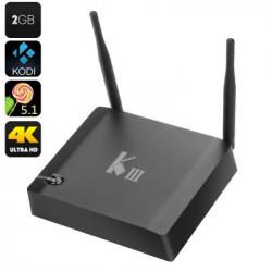 K3 Android TV Box - 4K dekodning, 2K Output, Amlogic S905 Quad Core CPU, HDMI 2.0, Bluetooth 4.0, H.265-kodning