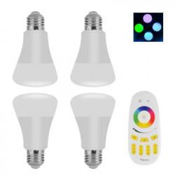 4 E27 RGBW LED Diodepærer med fjernbetjening - 6 Watt, 500 Lumen, 30000 Hour Life, justerbar