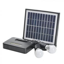 Solar belysningssystem - 5W Solar Panel med 5 meter kabel, 2x1W Pærer, 4400mAh Power Bank, miljøvenlig, Støjsvag