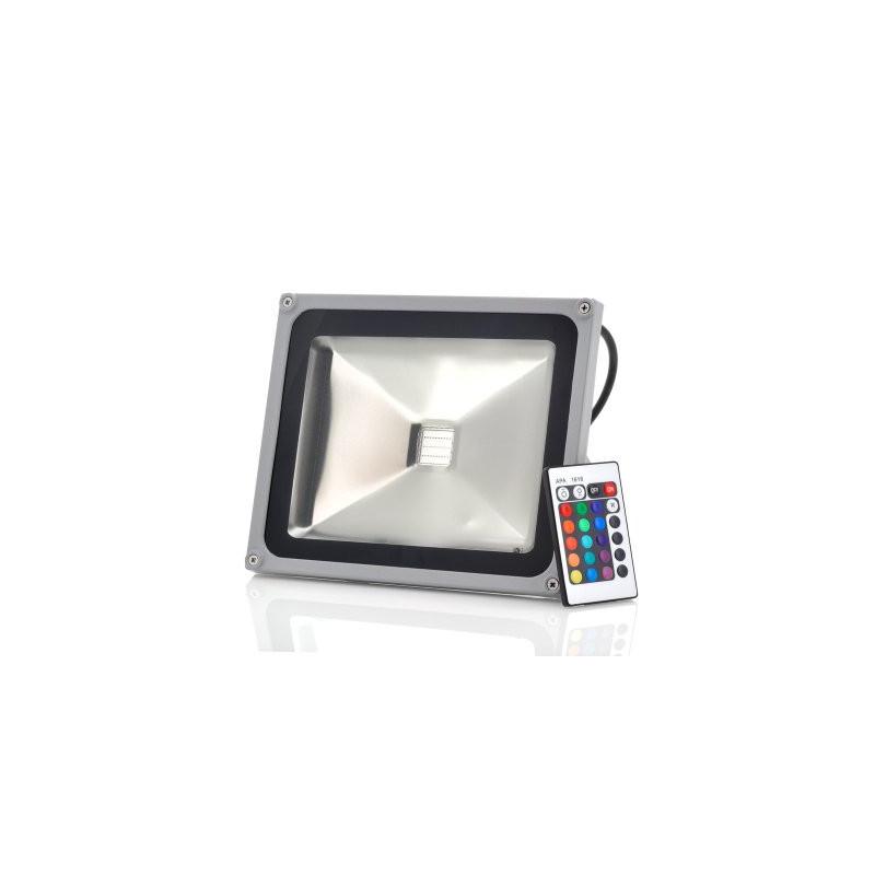 Vandt u00e6t udendors sikkerheds LED lys 30W, RGB farveskift, fjernbetjening Olsens IT ApS
