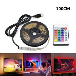 USB 5V Led Vandtæt fleksibel RGB skiftende lys led strip med fjernbetjening - 100cm