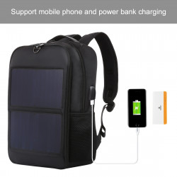 HAWEEL 14W Solar Panel Power Backpack Laptop Bag with Handle and 5V / 2.1A Max USB Charging Port