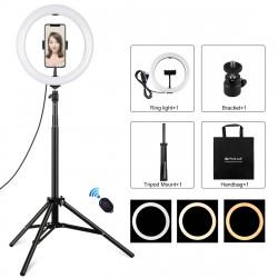 1,65 m Vlogging videolysstativ med telefonbøjle og selfie-fjernbetjening (sort)