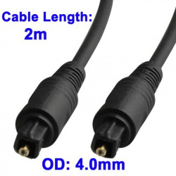 Digital Audio Optisk Fiber Toslink Cable, Kabel længde: 2m, OD: 4.0mm (Forgyldt)