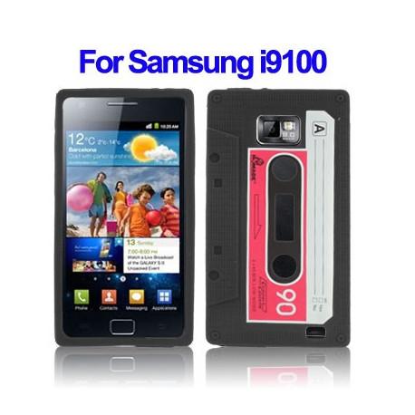 Image of   Silikone-hylster til Samsung Galaxy S II / i9100 (billede af kassettebånd, sort)