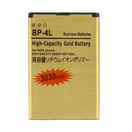 Image of   3030 mAh BP-4L Guldbatteri m. høj kapacitet til Nokia E61i / E90 / E71 / 6650F / N97 / E95