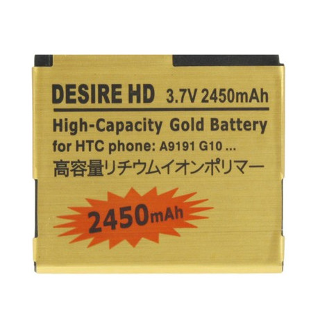 Image of   2450 mAh guldbatteri m. høj kapacitet til HTC Desire HD
