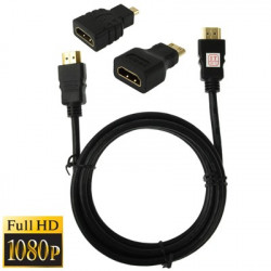 3 i 1 Full HD 1080p HDMI-kabel Adapter Kit (1.5m HDMI kabel + HDMI to Mini HDMI adapter + HDMI to the Micro HDMI adapter)
