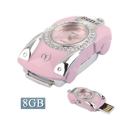 Image of   3-i-1 nøglering m. 8 GB USB-flashdrev, ur, diamantudsmykning, bil-design (pink)