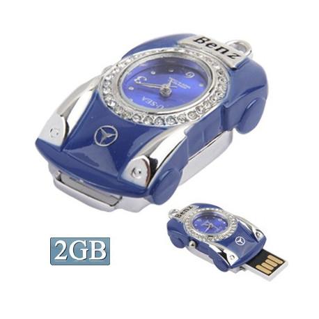 Image of   3-i-1 nøglering m. 2 GB USB-flashdrev, ur, diamantudsmykning, bil-design (blå)