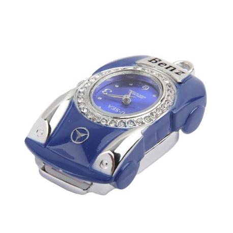 Image of   3-i-1 nøglering m. 32 GB USB-flashdrev, ur, diamantudsmykning, bil-design (blå)