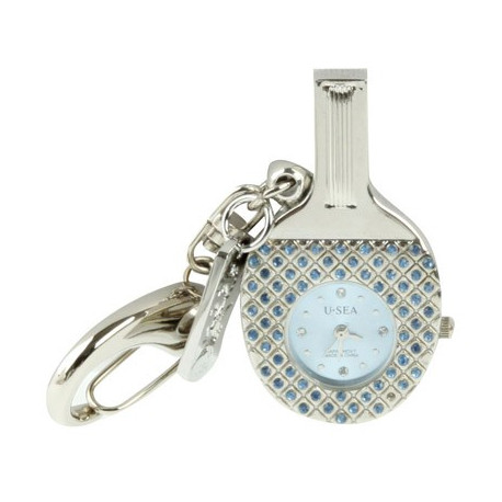 Image of   3-i-1 nøglering m. 8 GB USB-flashdrev, ur, diamantudsmykning, bordtennisbat-design (blå)