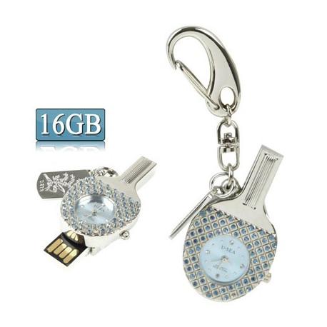 Image of   3-i-1 nøglering m. 16 GB USB-flashdrev, ur, diamantudsmykning, bordtennisbat-design (blå)