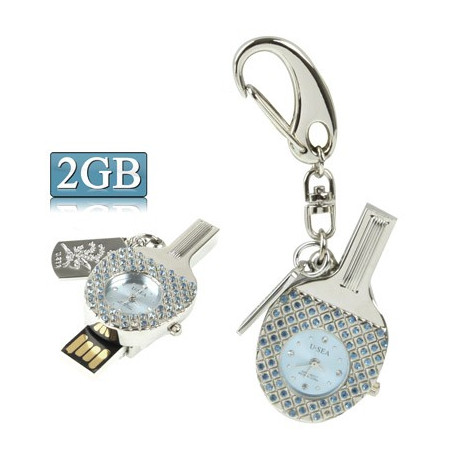 Image of   3-i-1 nøglering m. 2 GB USB-flashdrev, ur, diamantudsmykning, bordtennisbat-design (blå)