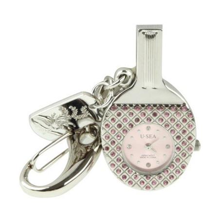 Image of   3-i-1 nøglering m. 16 GB USB-flashdrev, ur, diamantudsmykning, bordtennisbat-design (pink)