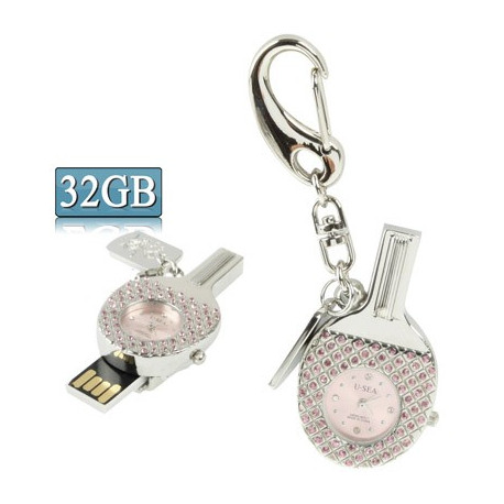 Image of   3-i-1 nøglering m. 32 GB USB-flashdrev, ur, diamantudsmykning, bordtennisbat-design (pink)