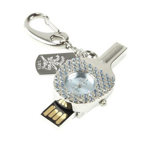 Image of   3-i-1 nøglering m. 4 GB USB-flashdrev, ur, diamantudsmykning, bordtennisbat-design (blå)