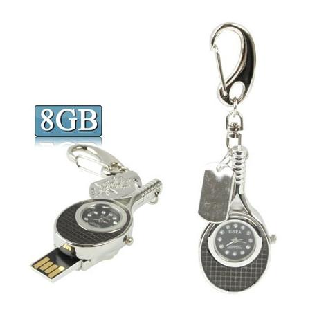 Image of   3-i-1 nøglering m. 8 GB USB-flashdrev, ur, diamantudsmykning, tennisketsjer-design (sort)