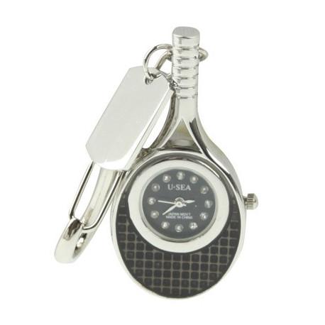 Image of   3-i-1 nøglering m. 4 GB USB-flashdrev, ur, diamantudsmykning, tennisketsjer-design (sort)