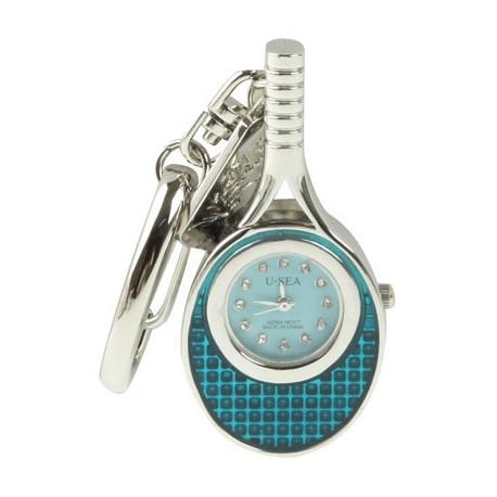 Image of   3-i-1 nøglering m. 16 GB USB-flashdrev, ur, diamantudsmykning, tennisketsjer-design (blå)