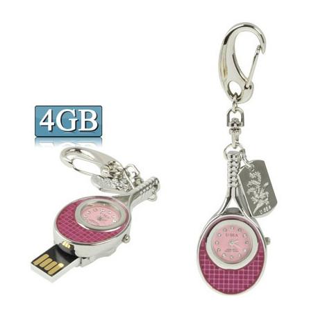 Image of   3-i-1 nøglering m. 4 GB USB-flashdrev, ur, diamantudsmykning, tennisketsjer-design (rød)