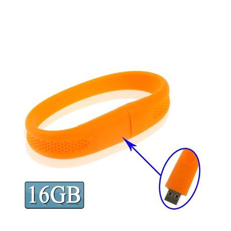 """Image of   16GB """"Silicon"""" armbånd med en USB 2.0 Flash Disk (orange)"""