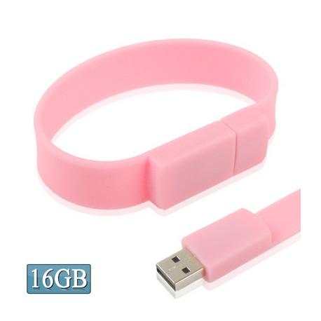 Image of   16 GB silikonearmbånd USB 2,0 flashdrev (pink)
