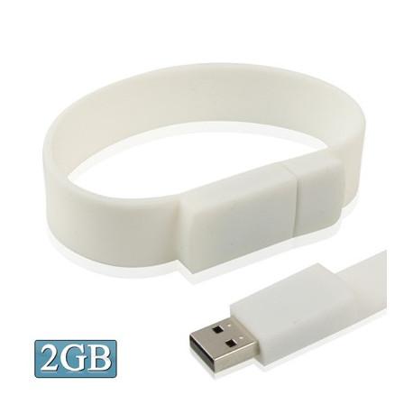 Image of   2 GB silikonearmbånd USB 2,0 flashdrev (hvid)
