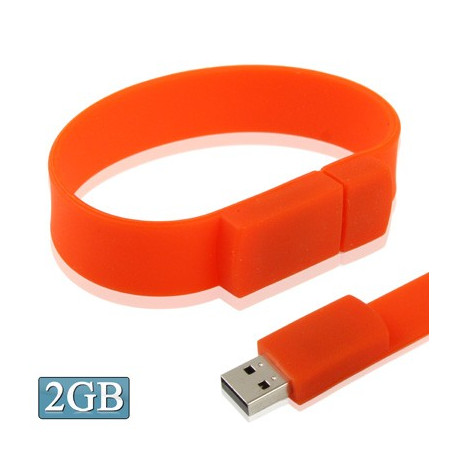 Image of   2 GB silikonearmbånd USB 2,0 flashdrev (rød)