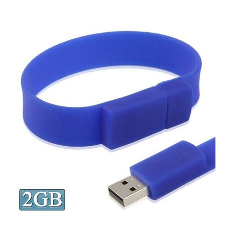"""Image of   2GB """"Silicon"""" armbånd med en USB 2.0 Flash Disk (Mørk blå)"""