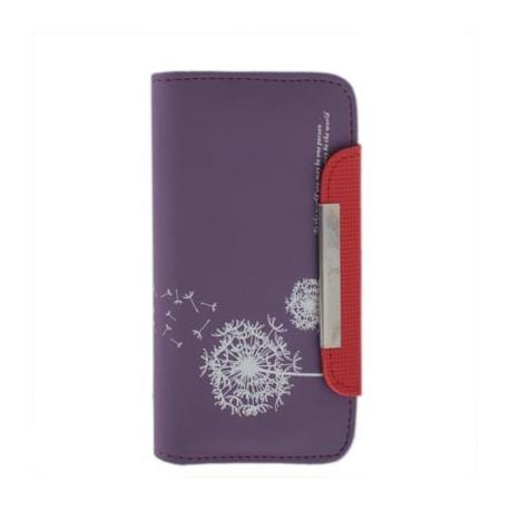 Image of   Lædertaske til Samsung Galaxy SIII / i9300 m. mælkebøttedesign og plads til kreditkort (mørk lilla)