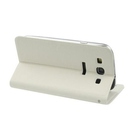 Image of   Lædertaske m. holder, beskyttelseshylster til Samsung Galaxy SIII / i9300 (hvid)